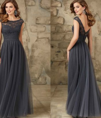Dark Gray Long Lace Bridesmaid Dresses