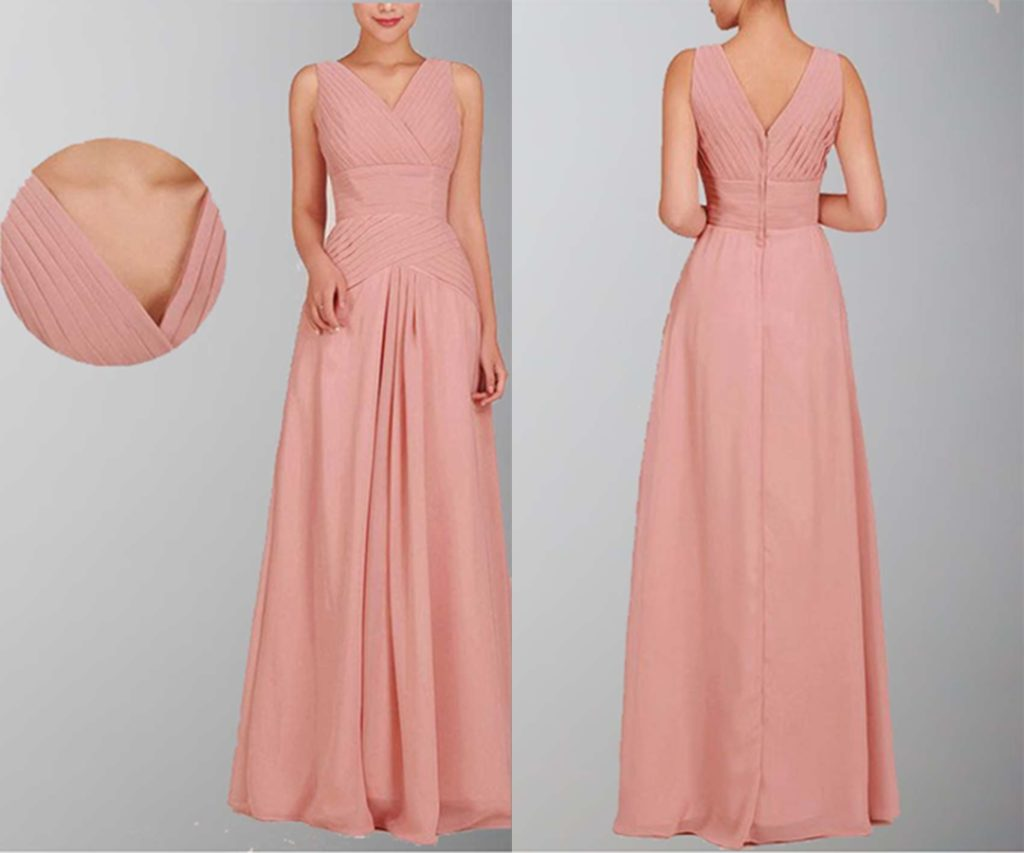 Decent Draped V-neck Long Formal Dress