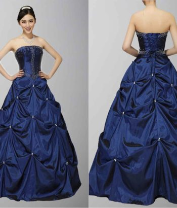 Deep Blue Gothic Style Strapless Prom Dress