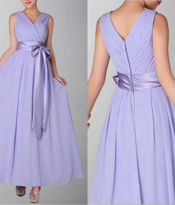 Dignified Deep V-neck Pleated Empire Chiffon Formal Dress