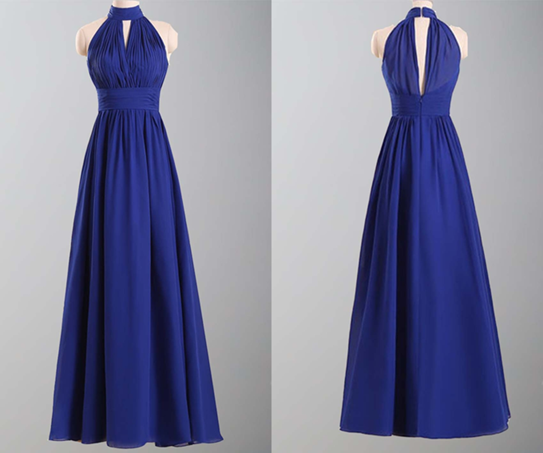 Elegance Blue High Neck Keyhole Long Bridesmaid Dress