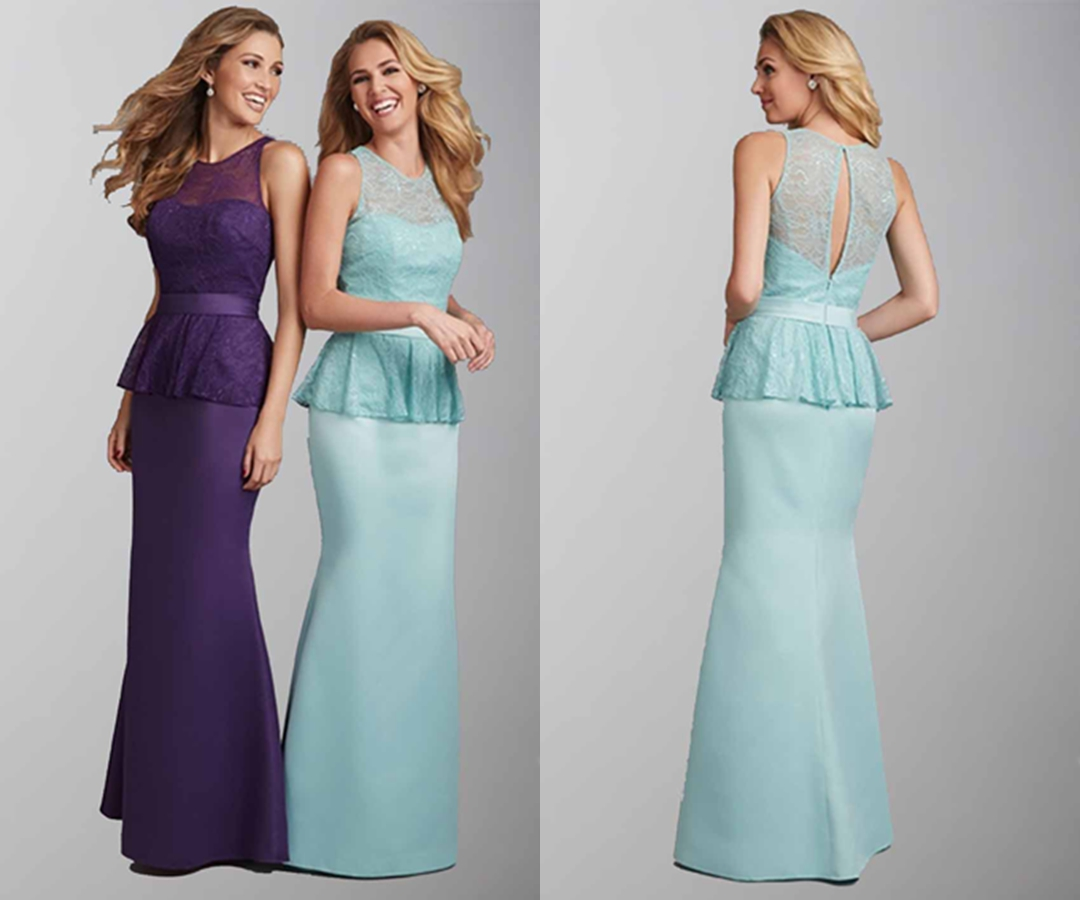 Elegant High Lace Illusion Long Sheath Bridesmaid Dresses