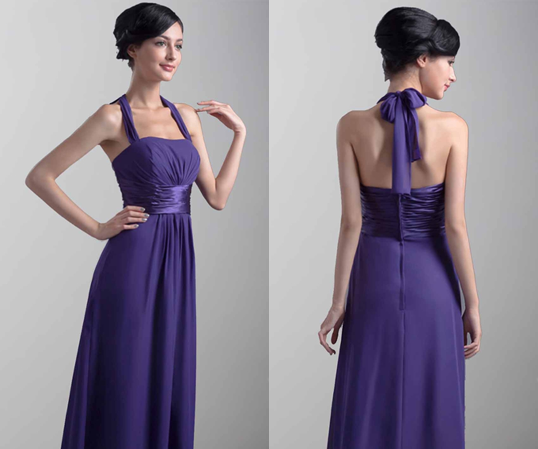 Elegant Purple Halter Long Bridesmaid Dresses