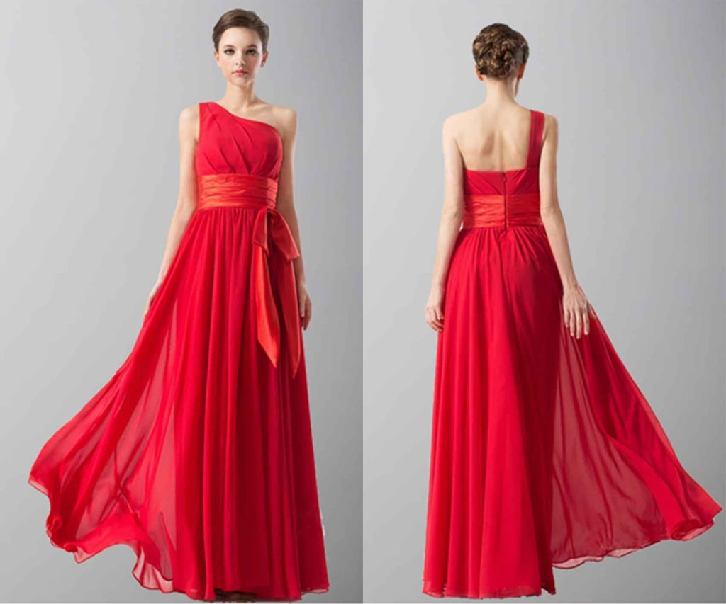 Elegant Red One Shoulder Long Chiffon Prom Dresses