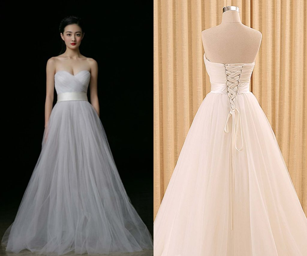 Elegant Sweetheart Long Gray Sweet 16 Dresses