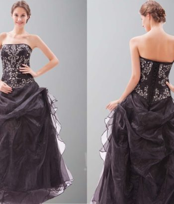Embroidery Strapless Wrinkle Ball Gowns