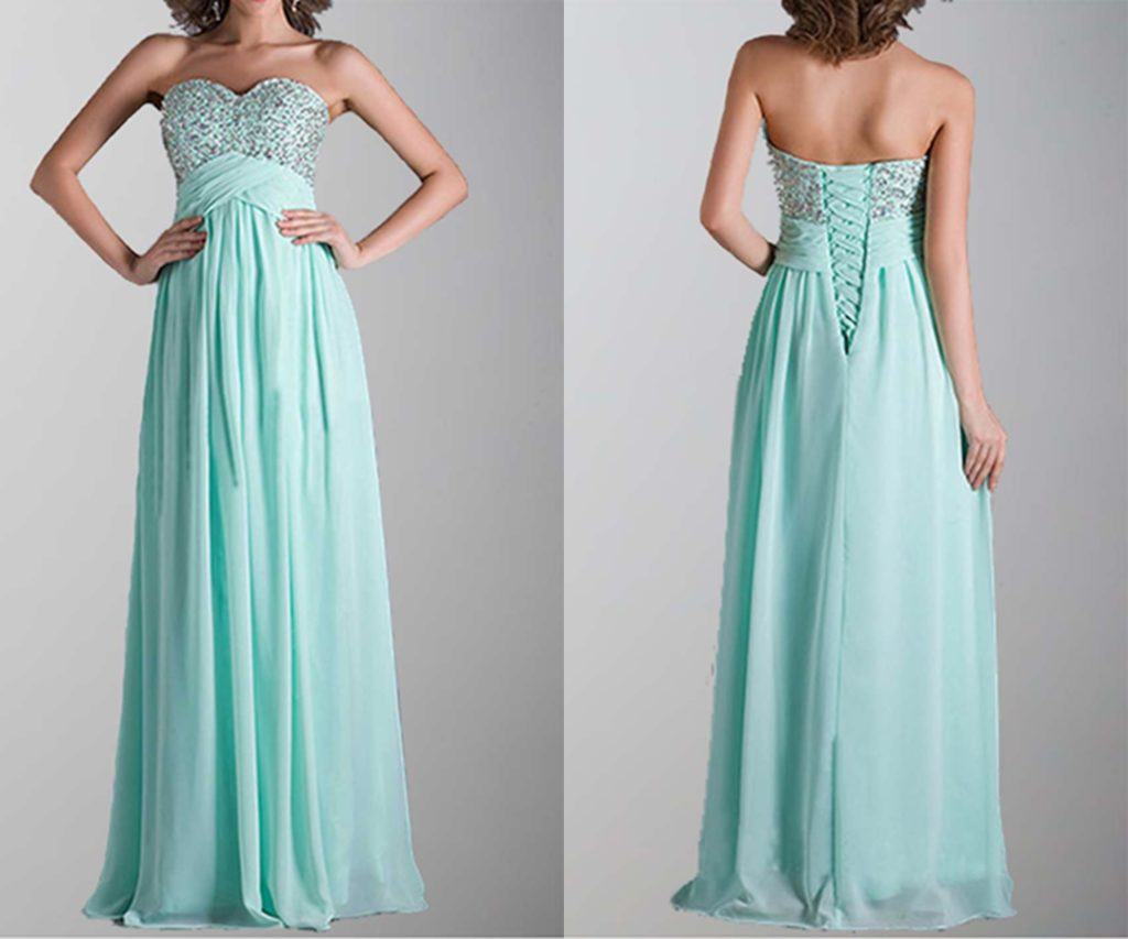 Empire Waist Sequin Lace Up Long Prom Dresses
