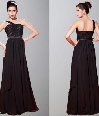 Empire Waist Single Shoulder Long Prom Gowns