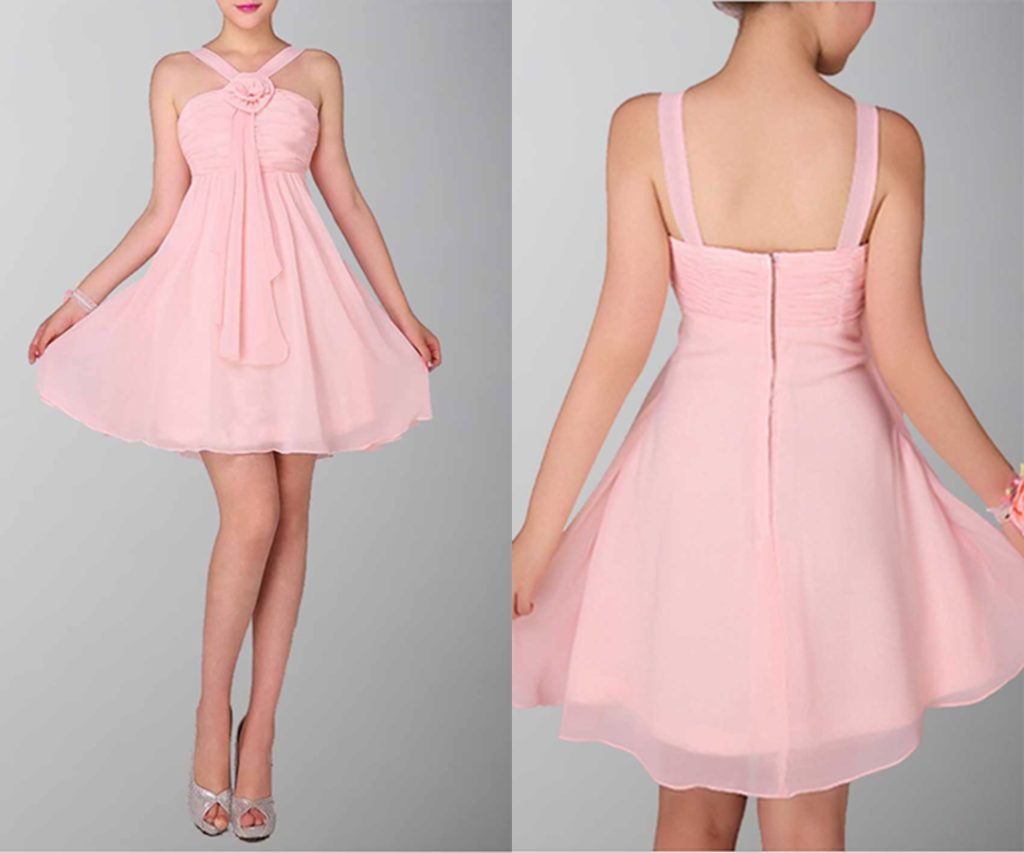 Exquisite Halter Neck Short Bridesmaid Dress