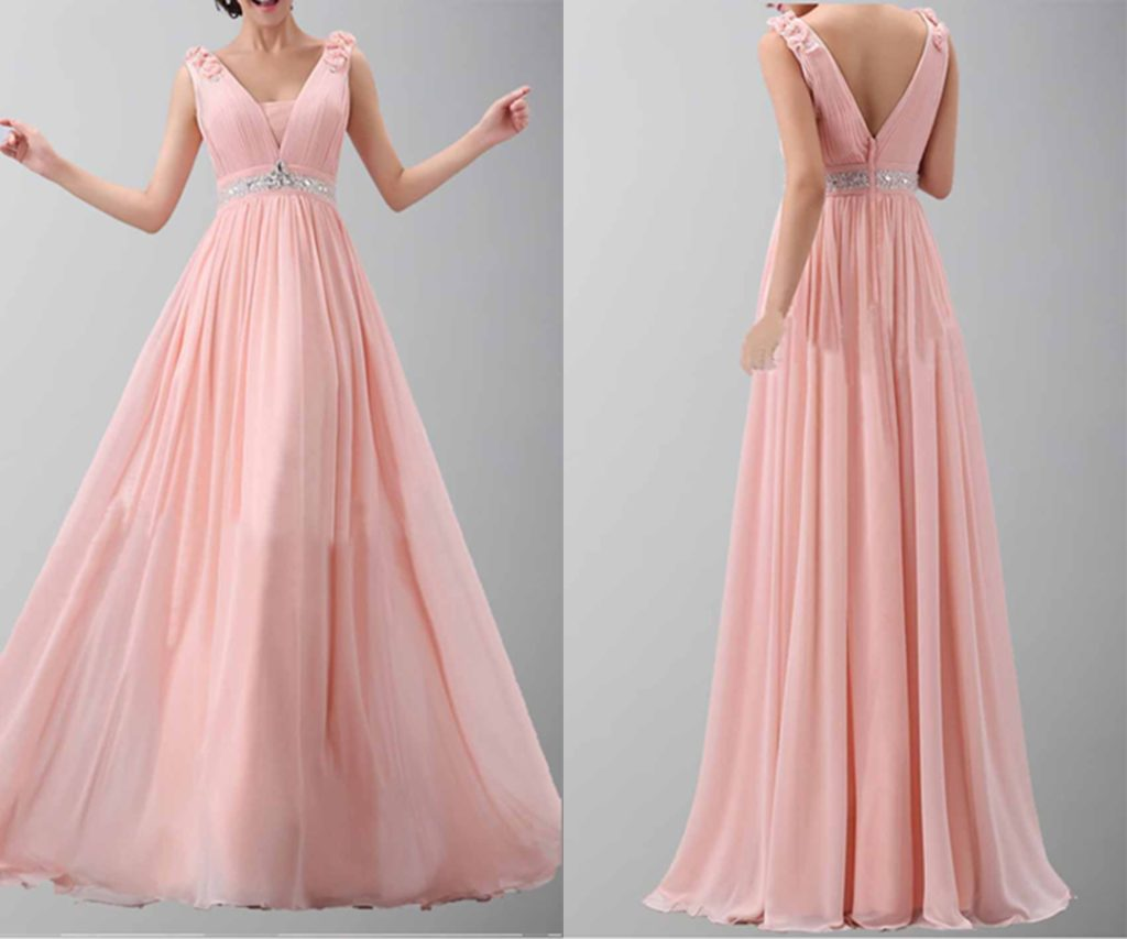 Flower Shoulder Belt V-neck Long Chiffon Prom Dress