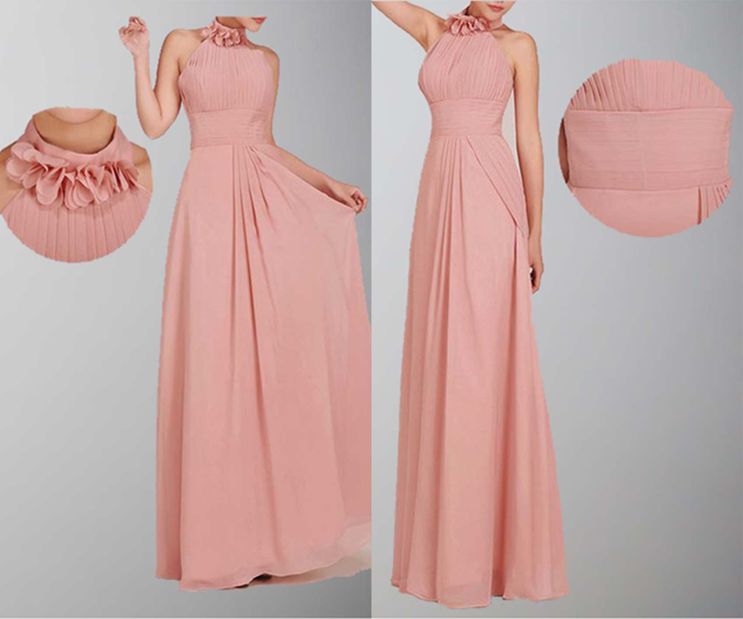 Flowery Halter Neck Empire A-line Bridesmaid Dresses