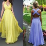 Flowing Yellow Halter Backless Long Prom Dresses