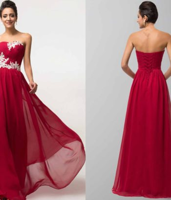 Flowy Applique Flowers Lace Up Prom Dresses Long