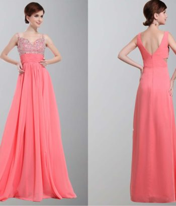 Gorgeous Spagetti Aline Sequin Long Prom Dresses
