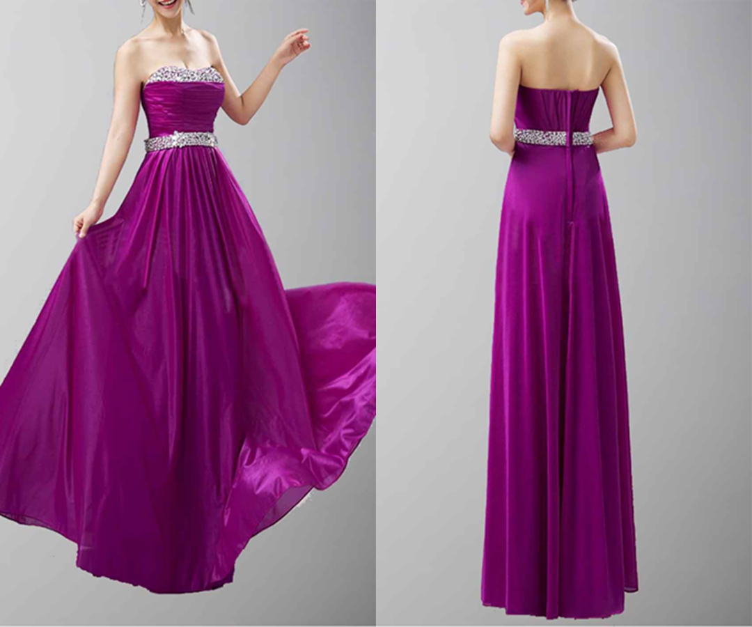 Gorgeous Strapless Sweetheart Long Chiffon Prom Dresses