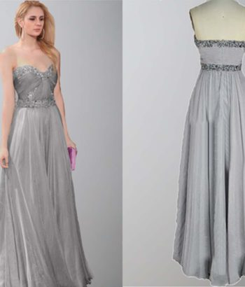 Gray Long Sweetheart Sequin Ceremony Show Dresses