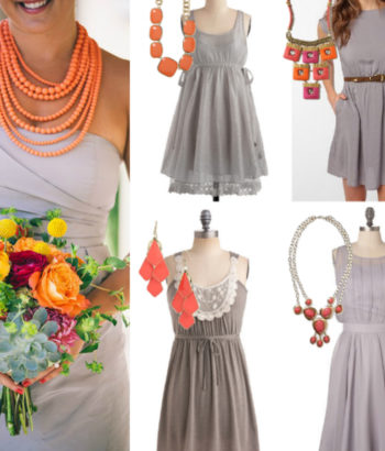 Gray bridesmaid dresses coral necklace
