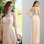 Grecian Sequin Double Collar Long Pink Prom Dresses
