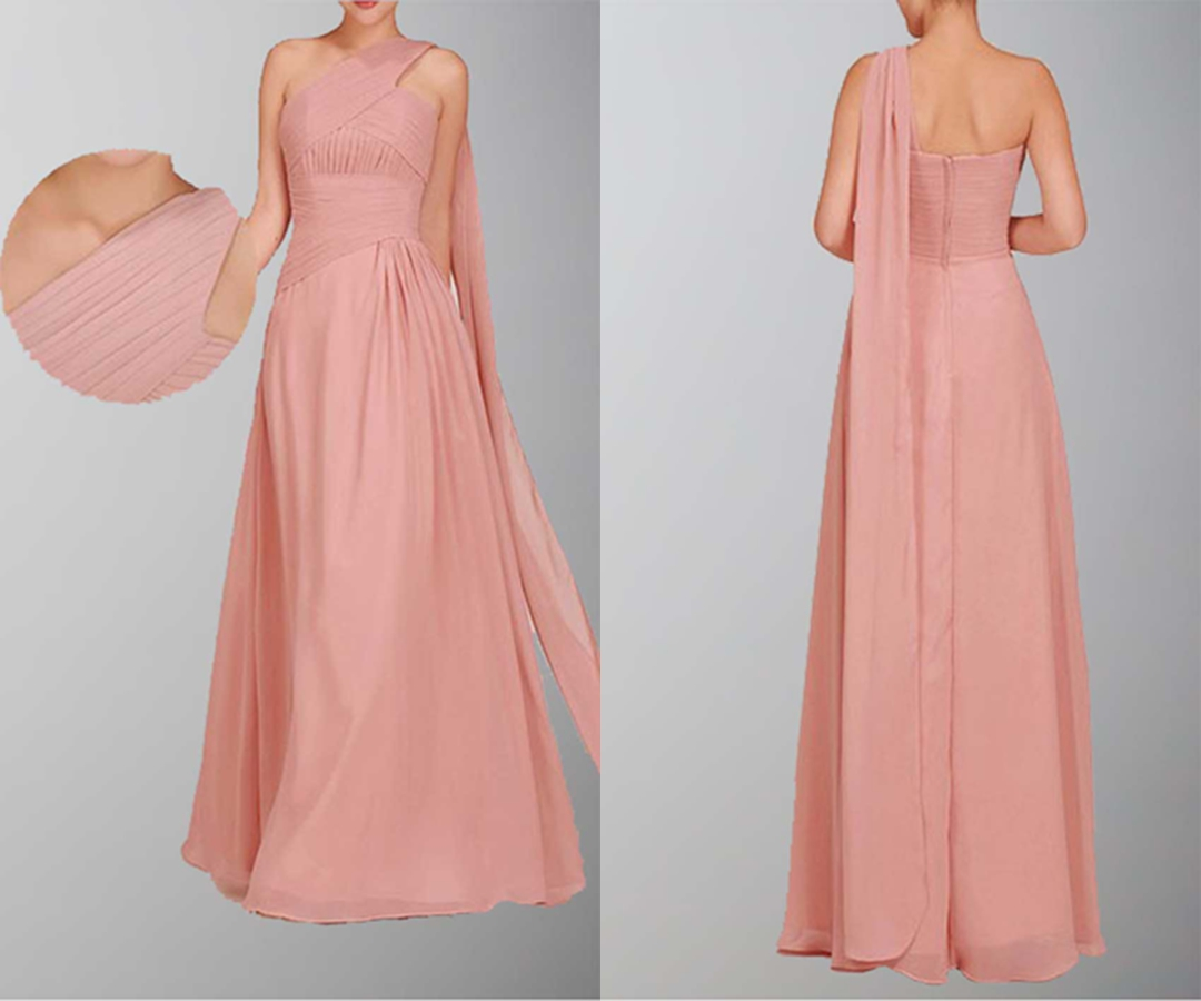 Grecian Single Shoulder Long Wedding Guest Dress