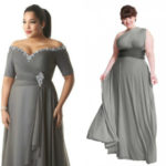 Plus sizes long one shoulder charcoal gray bridesmaid dresses