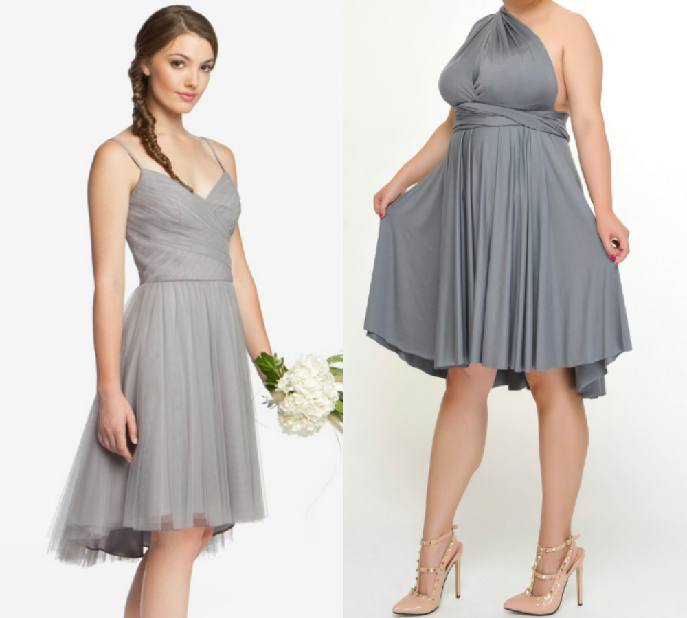 Short plus size gray bridesmaid dresses 2018