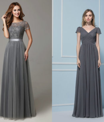 dark gray bridesmaid dresses with short sleeve