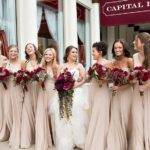 dk gray bridesmaid dresses with burgundy accents