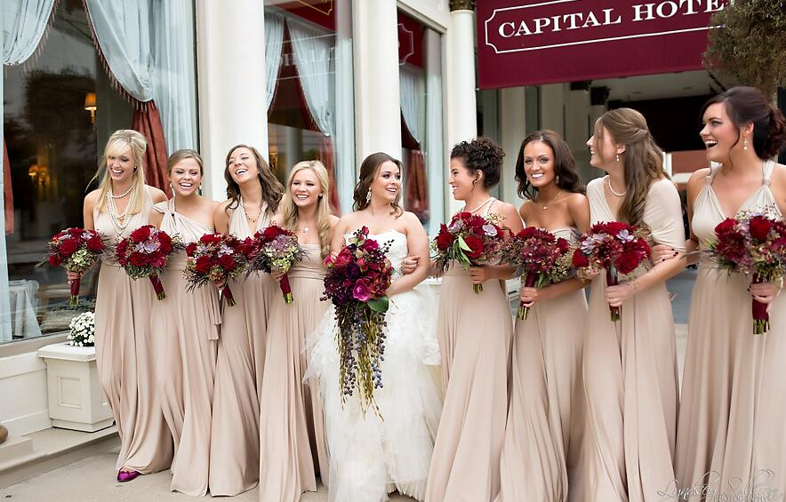 Dk Gray Bridesmaid Dresses With Burgundy Accents Budget