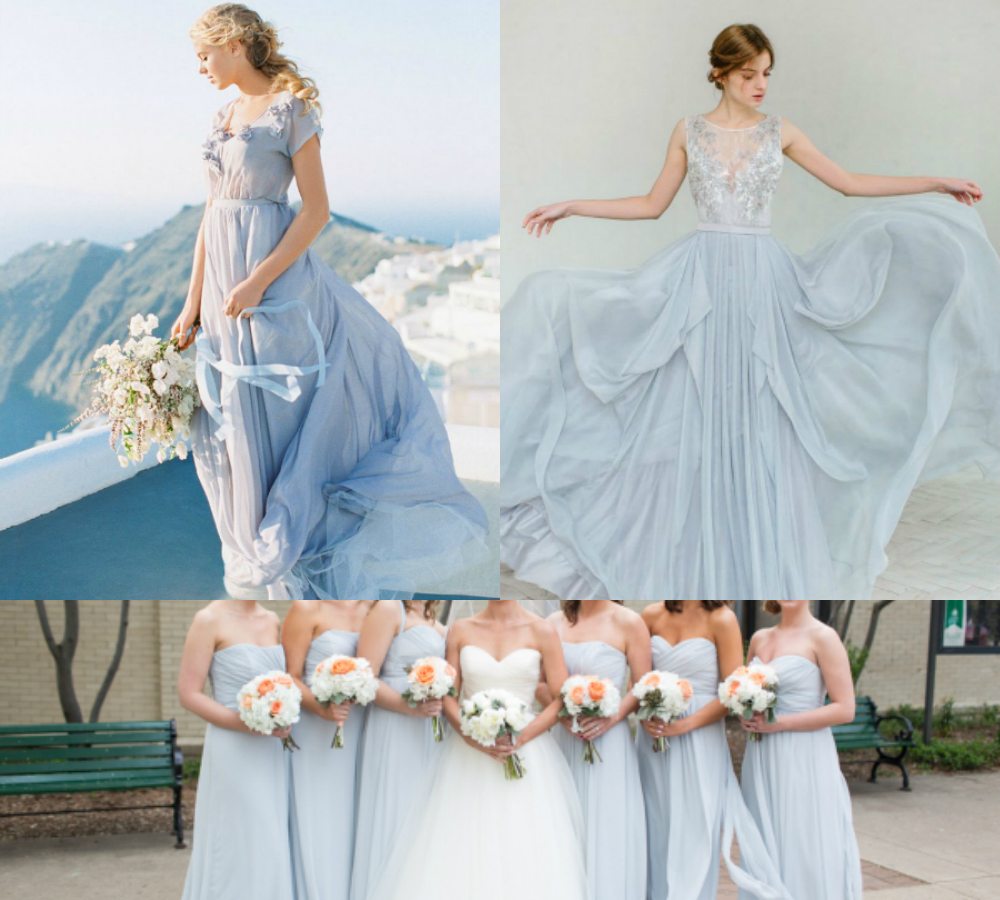 light blue gray bridesmaid dresses