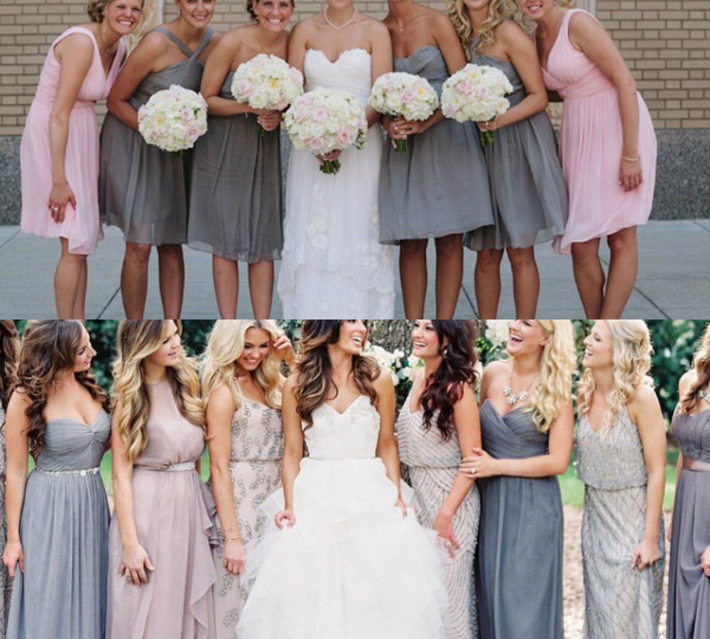 light pink and gray bridesmaid dresses
