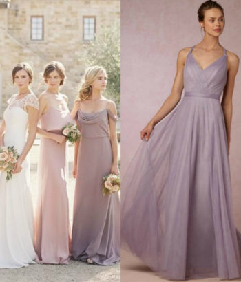 lilac gray bridesmaid dresses Long