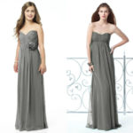 long charcoal gray bridesmaid dresses sweetheart