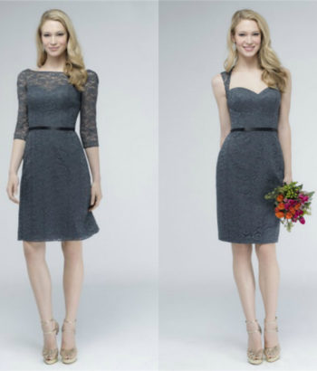short charcoal gray bridesmaid dresses elegant
