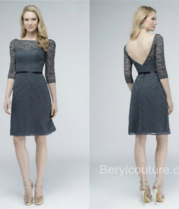 short gray bridesmaid dresses with sleeves