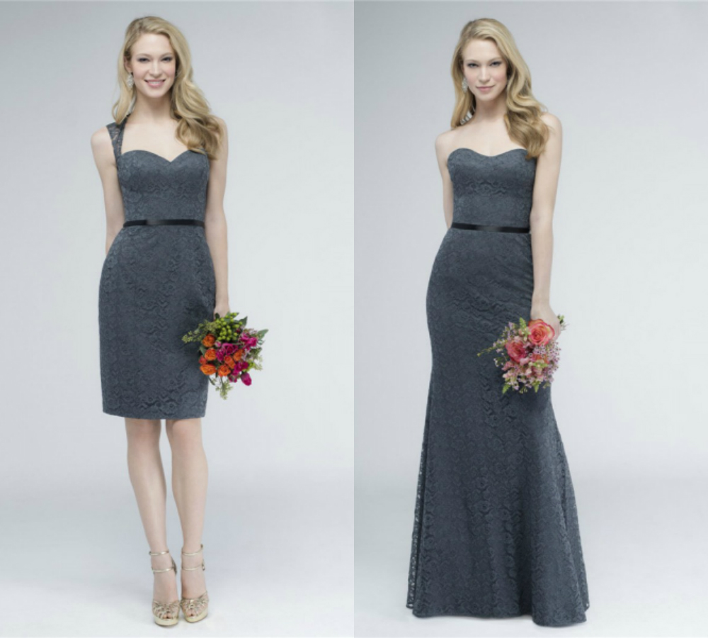 sweetheart lace charcoal gray bridesmaid dresses