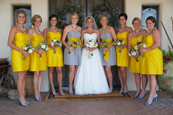 yellow and gray bridesmaid dresses