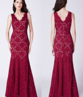 Burgundy Long V Neck Lace Mermaid Formal Bridesmaid Dress