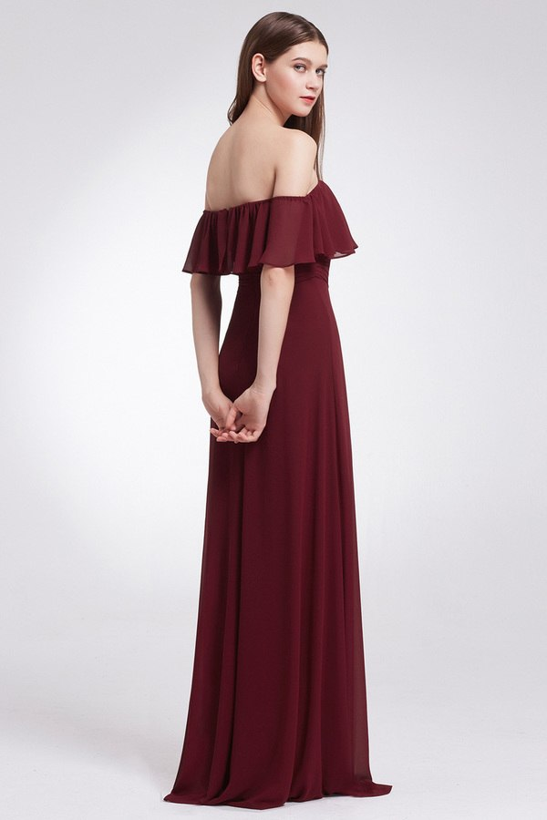 Burgundy Off Shoulder Split Bridesmaid Dress