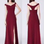 Burgundy Off Shoulder Split Formal Bridesmaid Dress