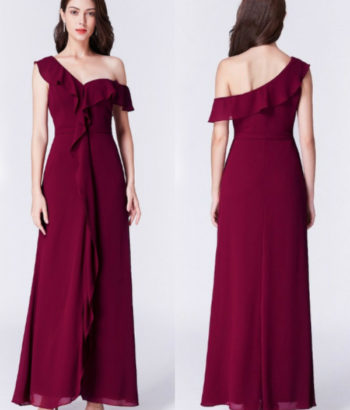 Burgundy Ruffles One Shoulder Chiffon Formal Dress in Wine