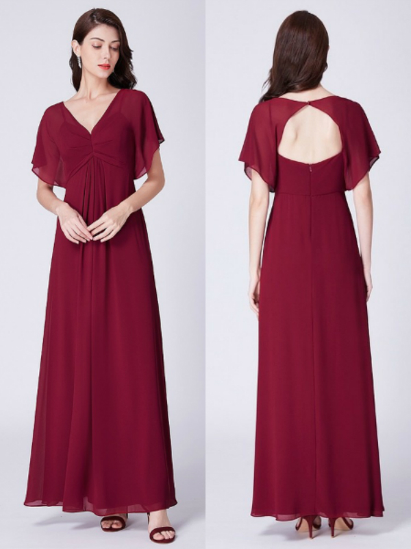 Burgundy Short Sleeved Chiffon Bridesmaid Dresses