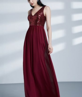 Sleeveless V Neck Sequins Formal Burgundy Bridesmaid Dress