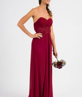 Sweetheart Embellished Strapless Burgundy Bridesmaid Dress