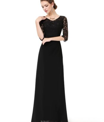 Black Long Mother Of The Bride Dress with lace Half Sleeves
