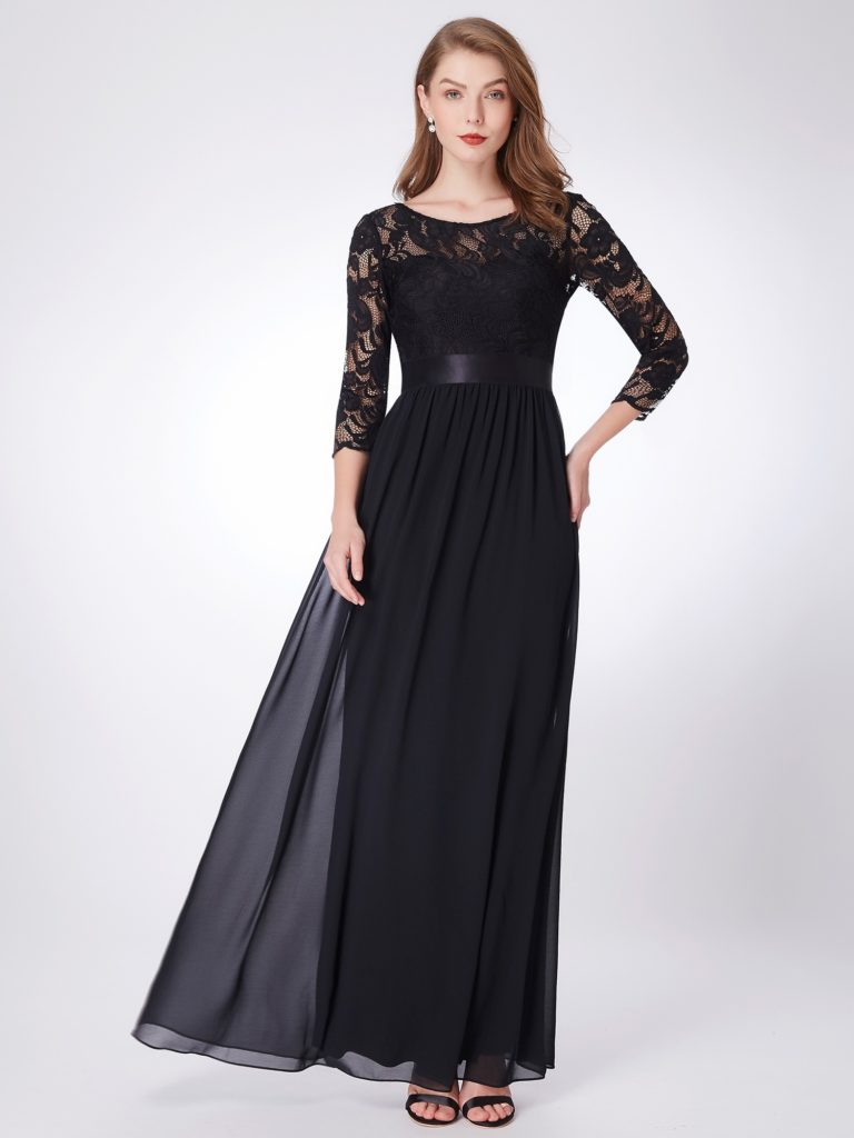 Black Long Mother of the Bride Dress with Long Lace Sleeves