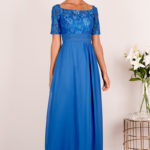 Blue Half Lace Sleeved Chiffon Bridesmaid Dress