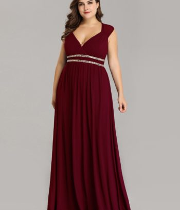 Burgundy Long V Neck Plus Size Mother Of The Bride Dresses