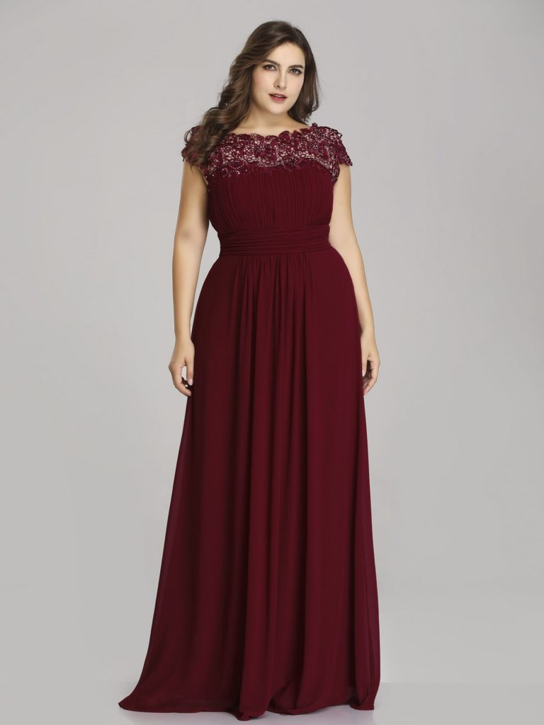 Chic Burgundy Plus Size mother of The Bride Dress