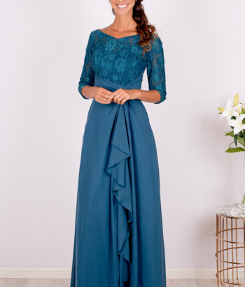 Elegant Blue Lace Half Sleeved Bridesmaid Dress 2019