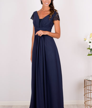 Navy Blue Lace Sleeved Chiffon Bridesmaid Dress